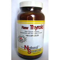 Raw Thyroid; Natural Sources; 390 mg; 180 Capsules